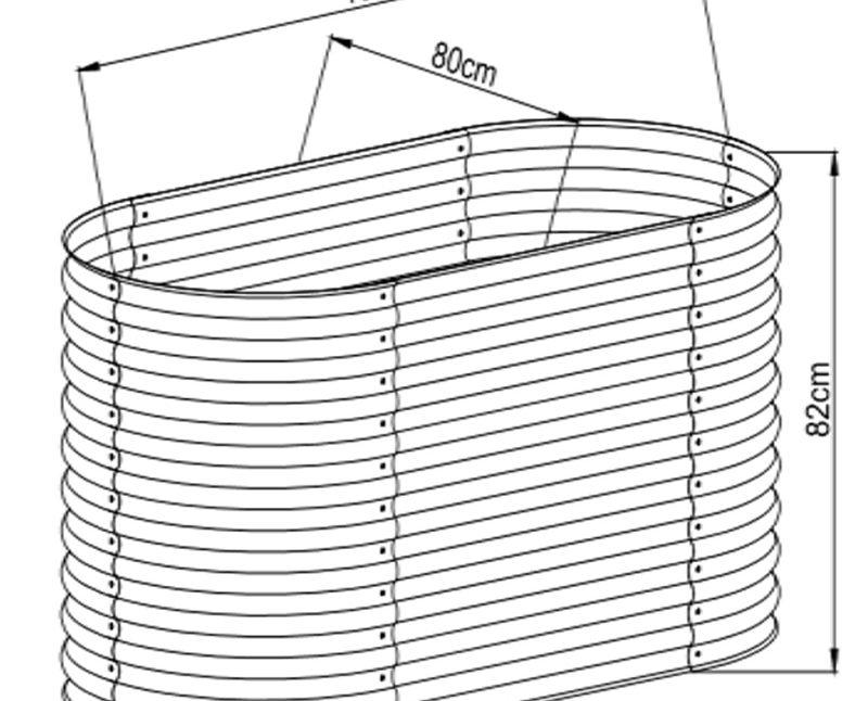 Hochbeet oval 82 x 160 x 80 cm, verzinktes Stahlblech, Anti-Rost-Beschichtung Details