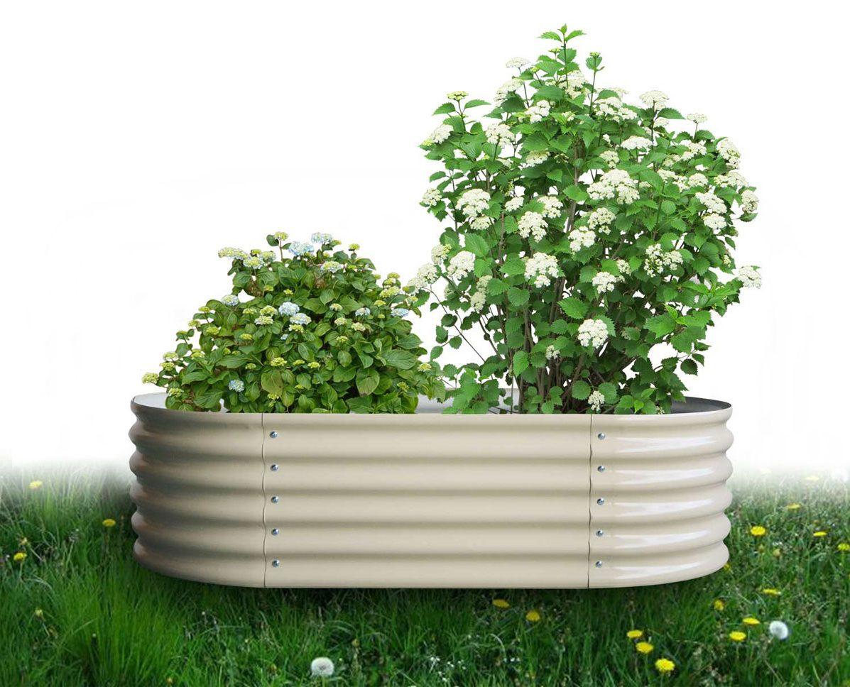 Hochbeet oval 36 x 160 x 80 cm, verzinktes Stahlblech, Anti-Rost-Beschichtung