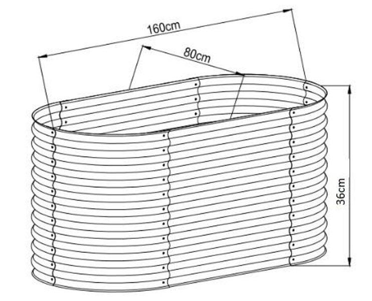Hochbeet oval 36 x 160 x 80 cm, verzinktes Stahlblech, Anti-Rost-Beschichtung Details