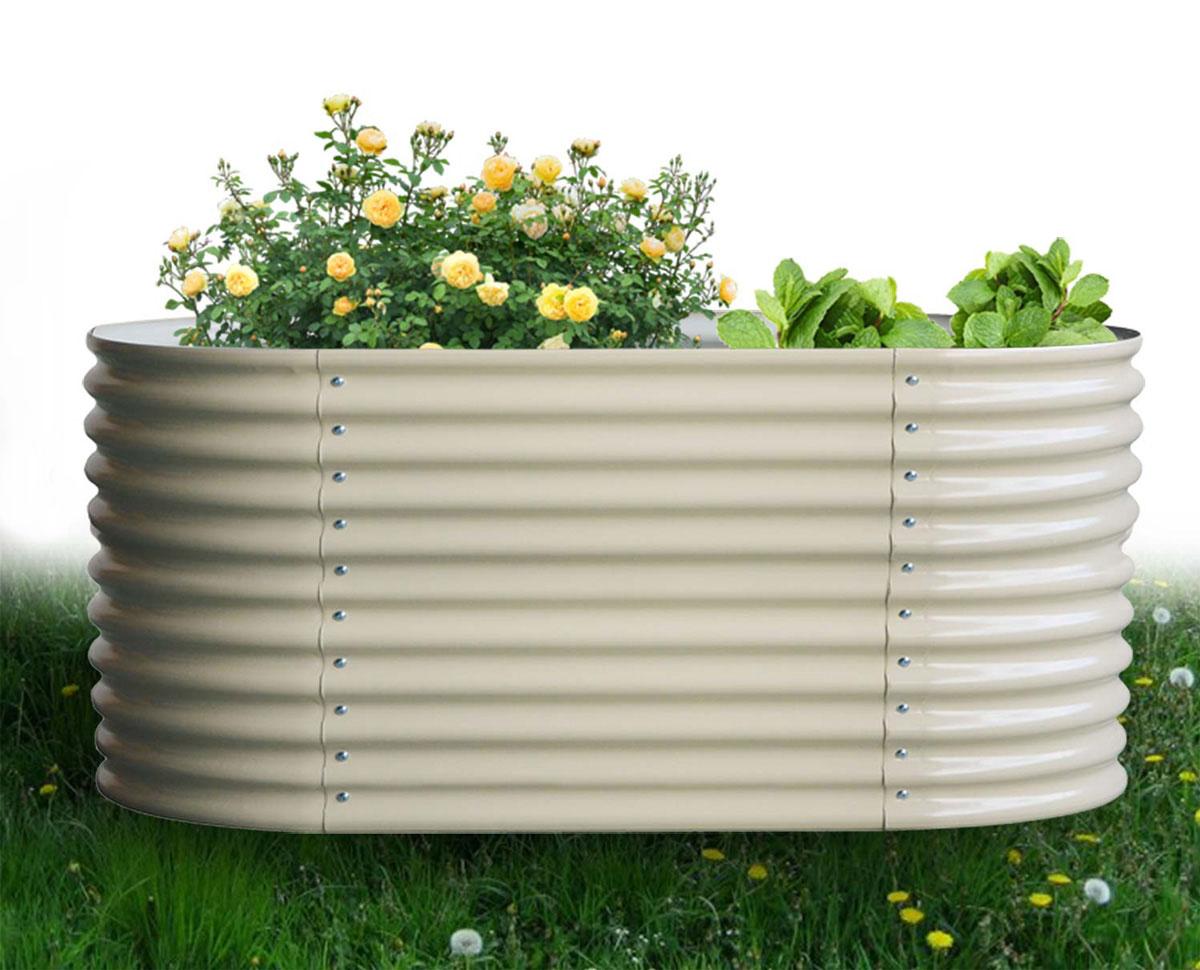 Hochbeet oval 82 x 240 x 80 cm, verzinktes Stahlblech, Anti-Rost-Beschichtung