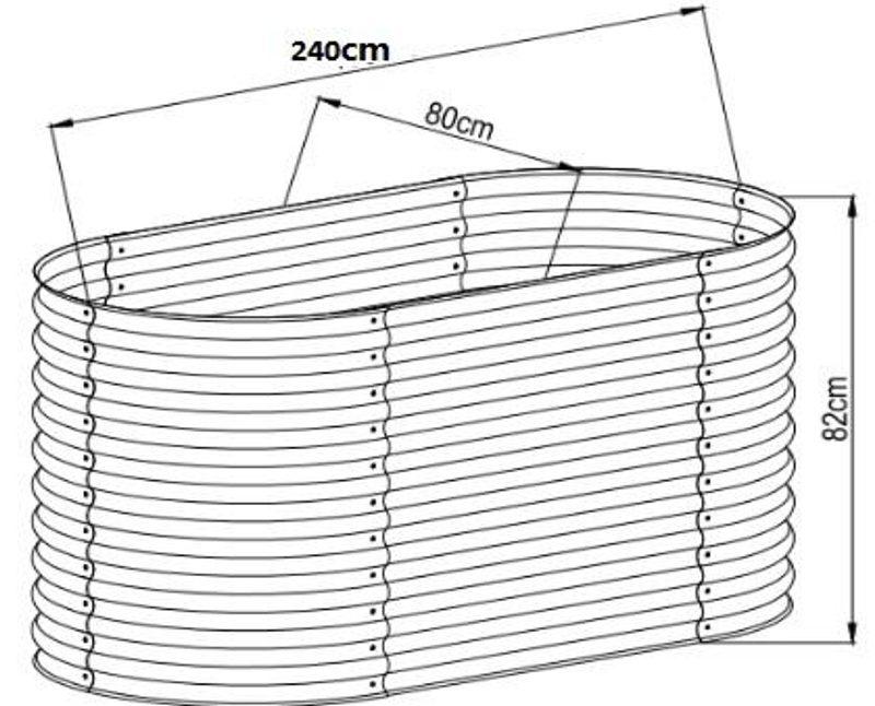 Hochbeet oval 82 x 240 x 80 cm, verzinktes Stahlblech, Anti-Rost-Beschichtung Details
