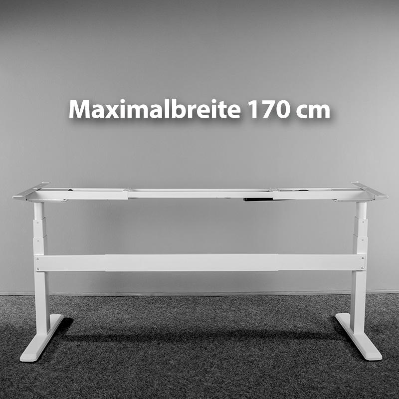 Gestellbreite von 100 cm bis 170 cm (für Tischplatten von 120 cm bis 200 cm)