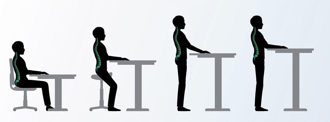 Positionen an einem Sitz-Steh Schreibtisch