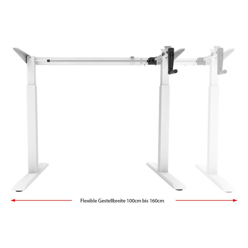 Schreibtisch manuell höhenverstellbar flexibel in der Breite