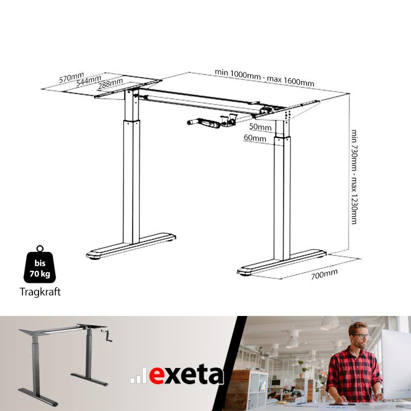 Schreibtisch manuell höhenverstellbar technische Maße