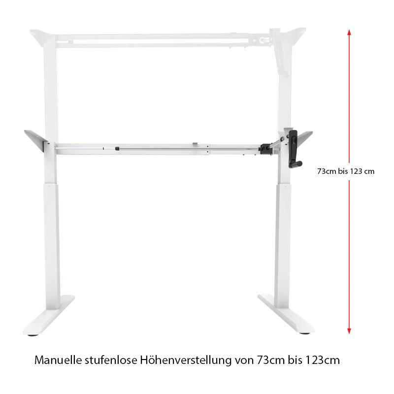 Schreibtisch manuell höhenverstellbar flexibel in der Höhe