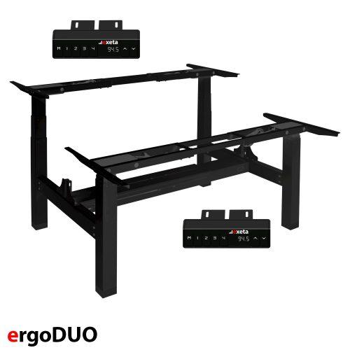 ergoDUO Das elektrisch stufenlos höhenverstellbare Tischgestell in Schwarz