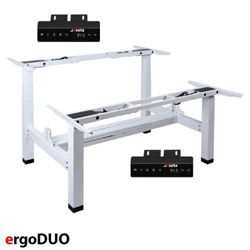 ergoDUO Das elektrisch stufenlos höhenverstellbare Tischgestell in Weiß