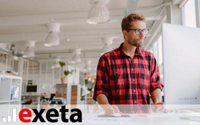 Schreibtische elektrisch und manuell höhenverstellbar: exeta Sitz-Steh-Schreibtische. Ideal für Büro und Homeoffice.